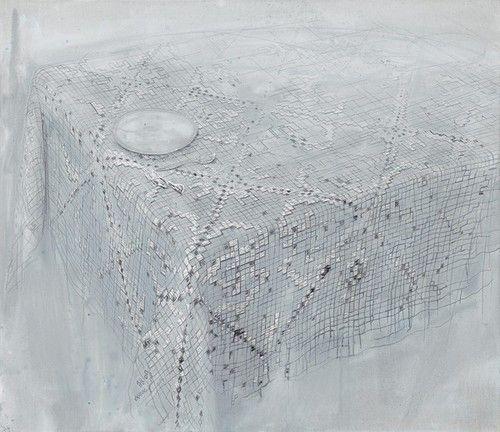 Michael_Raedecker - acrylic and thread on canvas