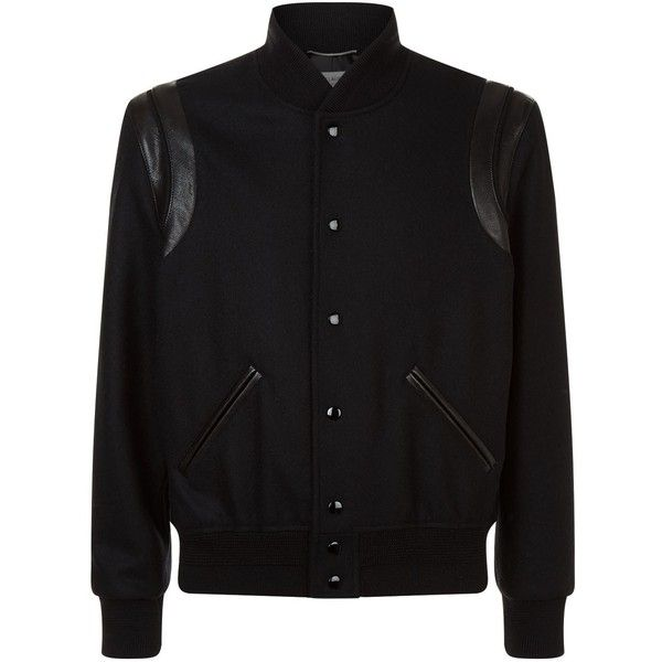 Saint Laurent Wool Bomber Jacket ($1,935) ❤ liked on Polyvore featuring men's fashion, men's clothing, men's outerwear, men's jackets, mens wool jacket, mens wool outerwear, mens retro jackets, yves saint laurent mens jacket and men's wool bomber jacket