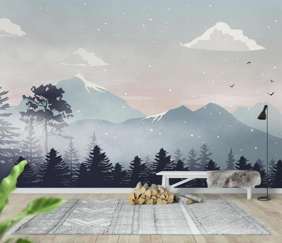 Kids Wallpaper Peel And Stick Self Adhesive Mountain Wall Etsy In 2020 Kids Wall Murals Kids Room Murals Murals For Kids