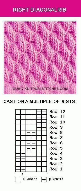Knit and Purl stitch pattern. Pattern includes written instructions, chart and PDF file. Available on knitpurlstitches.com
