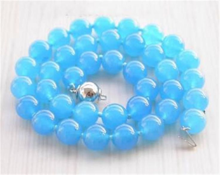 2017 Elegant 10mm Round Blue Chalcedony Necklace Rope Chain Beads Fashion Jewelry Natural Stone Girl Gift Mother's Day gifts