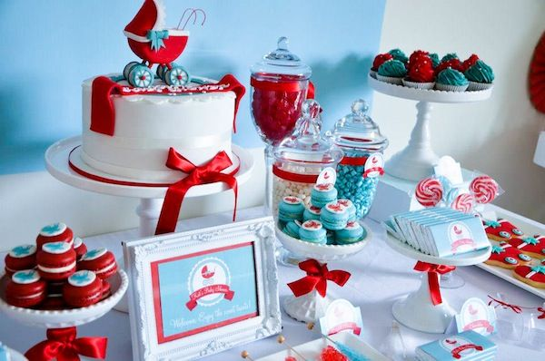 Gender Neutral Aqua & Red Baby Carriage Baby Shower