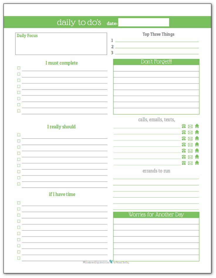 Весна зеленый - Ежедневный список дел планировщик для печати