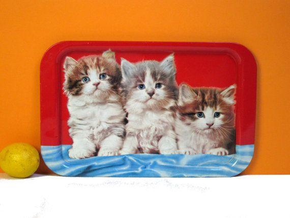 Plateau de chatons duveteux, rouge, bleu et mignon, vintage servingware fabriqué en Angleterre