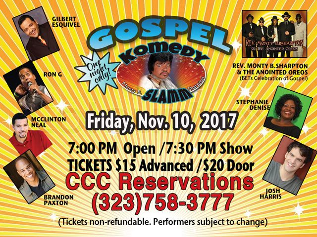 A Merry heart doeth good like a medicine so let's get merry together when the Family Network presents, The Gospel Komedy Slamm on Friday, November 10th at 7:30pm in the Main Auditorium. The lineup is incredible and sure to bless your socks off. Get your tickets today in the Reservations Department or online at crenshawchristiancenter.net #GospelKomedySlamm #OneNightOnly #Gospel #Comedy #November #CCC #FamilyNetwork