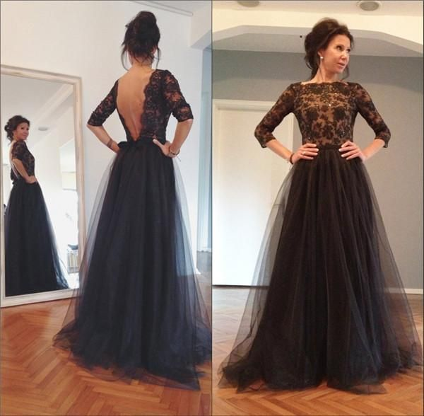 Black Lace Long Sleeves Prom Dresses 2015 Backless Plus Size Beaded Tulle A Line