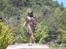 Bronze statue on Cherokee Indian Reservation near the Harrah's Casino in Cherokee,North Carolina