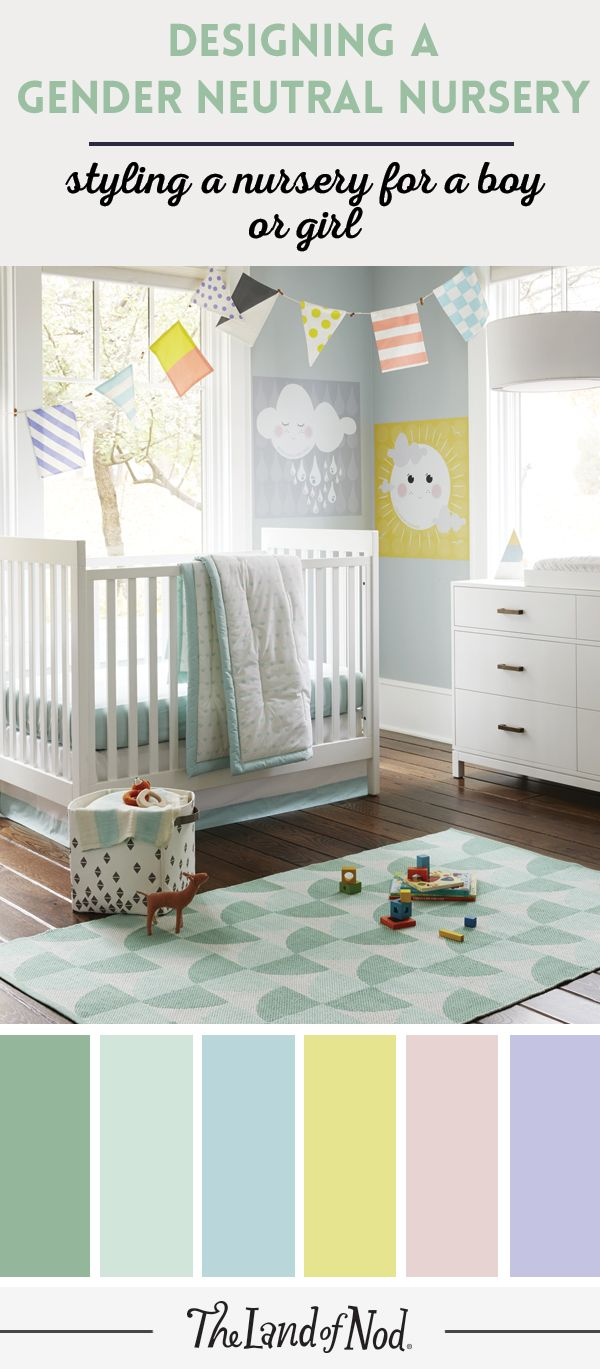 Stylish and soothing, a gender neutral nursery can be the coziest spot for your baby girl or boy. First, pick a color scheme that includes a medley of versatile accent colors (we think grey and pops of lemon yellow and sea foam green create a refreshing feel). Next, add neutral furniture pieces—a white crib and changing table will fit right in. Crib bedding, wall art and decor with lots of prints and hues will pull the whole nursery together. Finally, add a storage basket to keep it extra…