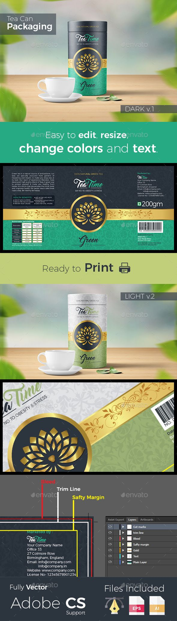 #Beautiful Tea Packaging label - #Packaging Print #Templates Download here: https://graphicriver.net/item/beautiful-tea-packaging-label/19181046?ref=alena994