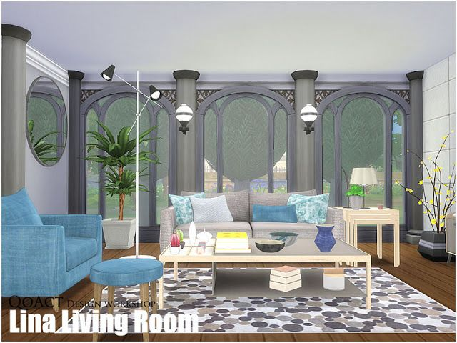 Sims 4 cc 39 s the best lina living room by qoact sims 4 for Living room sims 4