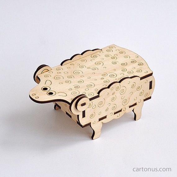 "Sheep-box of plywood. Lasercut pattern, I could see making these and putting your ""wool"" thread inside, so cute!"