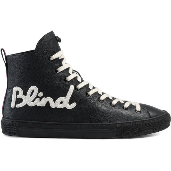 """Gucci """"""""Blind For Love"""""""" High-Top Sneaker (2.705 RON) ❤ liked on Polyvore featuring men's fashion, men's shoes, men's sneakers, vender, black, mens black high top shoes, mens black sneakers, mens black leather sneakers, gucci mens shoes and mens black high top sneakers"""