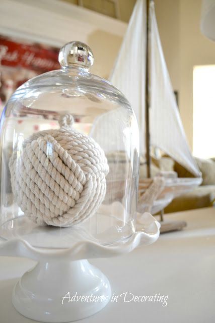 Nautical Cloche: Capture a bit of summer under a cloche or glass bell jar. Explore these beautifully chic coastal cloche decor ideas for your home.
