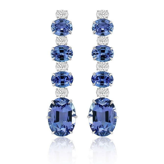 Anniversary Drop Earrings From Sutra With 30 Cts T W Tanzanite And 3 Cts T W Diamonds In 18k White Go Anniversary Jewelry Jewelry Appraisal Diamond Jewelry