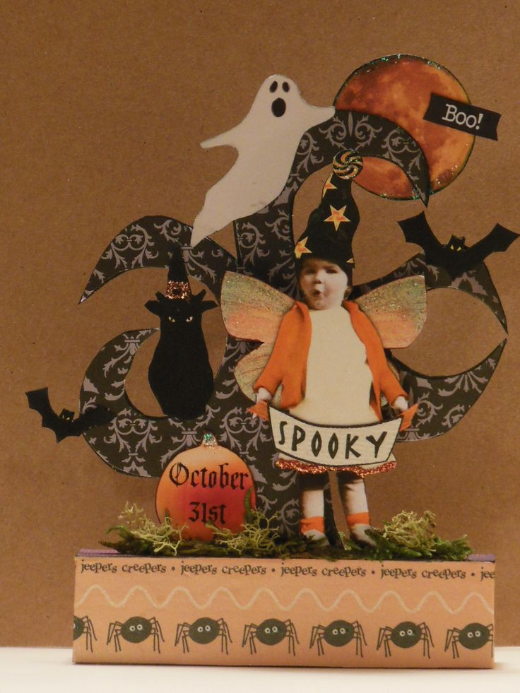 Altered Art Fairy Halloween Original Mixed Media Collage Paper Pixie Assemblage | eBay