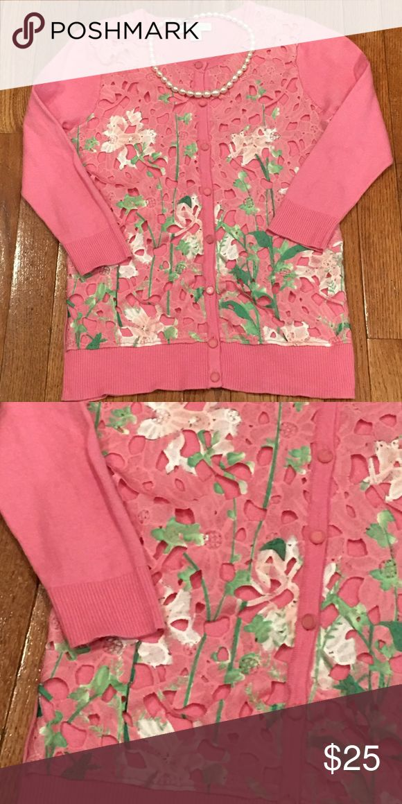 Pink Floral Cardigan Pink cardigan sweater with beautiful floral overlay.  💐🌸🌸🌸💐 Sweaters Cardigans