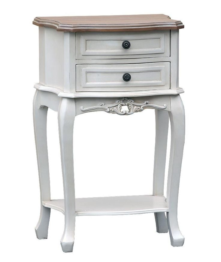 French Style Shabby Country Chic ANTIQUE WHITE TWO DRAWER BEDSIDE TABLE LAMP