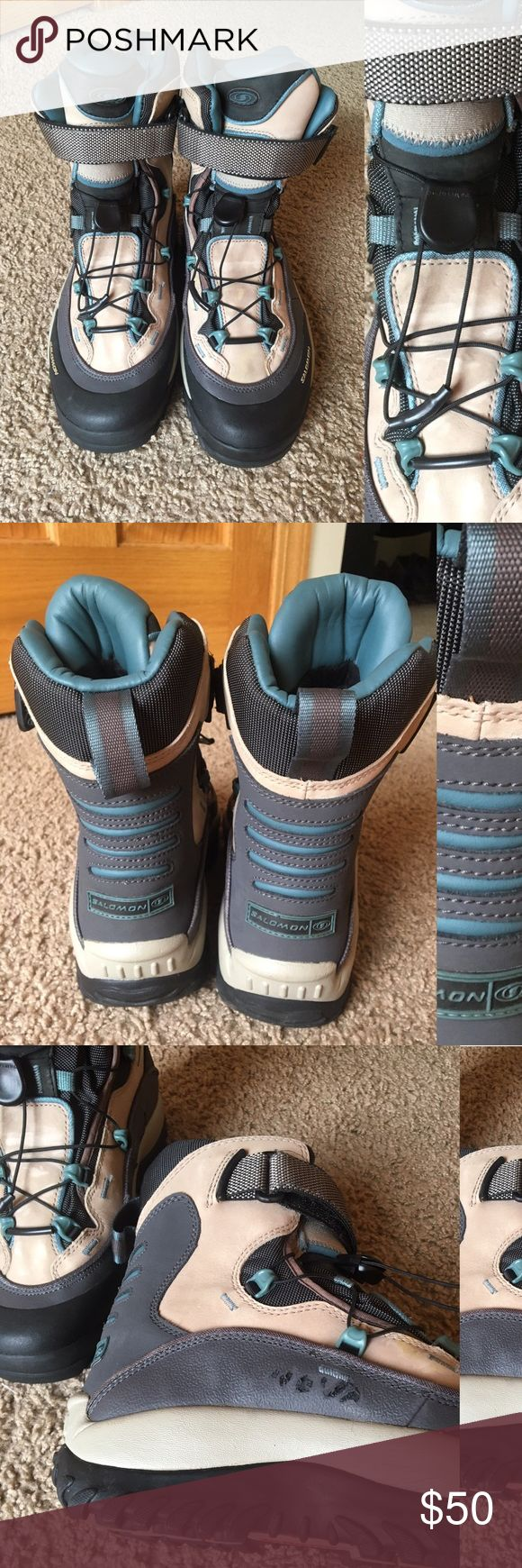Salomon winter boots Used but in good condition, Salomon women's snow boots, made from durable leather and gore tex material, lace up and valcroe strap closure, size 7,5 Salomon Shoes Winter & Rain Boots