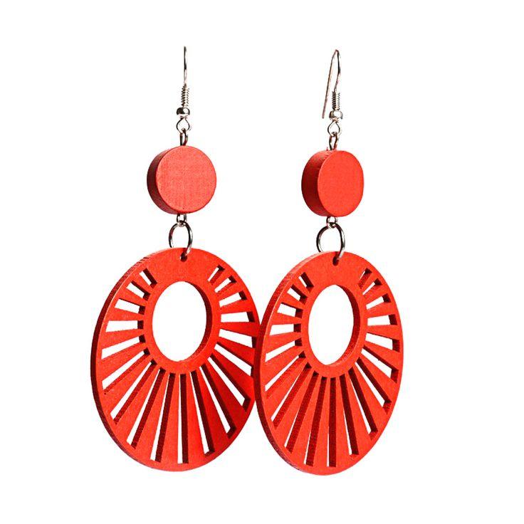 Red sunbeams cut out design wooden hoop drop earrings