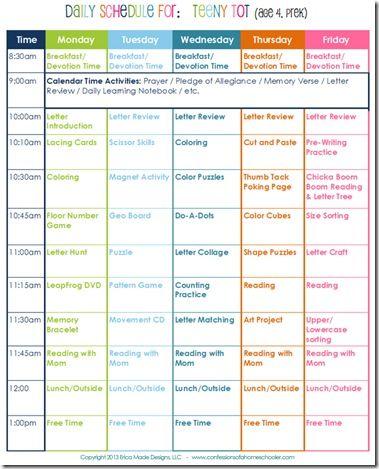 Daily Homeschool Schedule: Preschool   Confessions of a Homeschooler