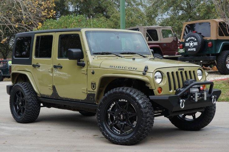 "2013 ""Commando Green"" Jeep Wrangler Unlimited RUBICON! Custom Build for $39,995. Details ----> http://www.selectjeeps.com/inventory/view/8894366/2013-Jeep-Wrangler-Unlimited-4WD-4dr-Rubicon-League-City-TX"