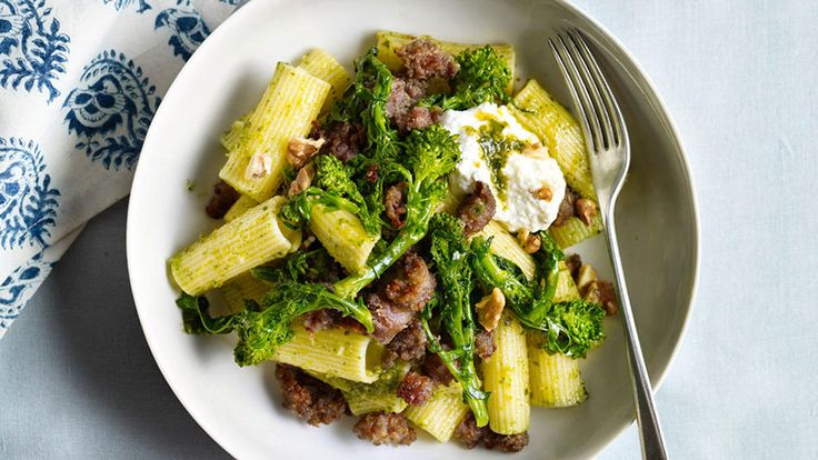 Recipe for Pasta with Walnut Pesto, Sausage, and Broccoli Rabe, as seen in the January 2010 issue of O, The Oprah Magazine.