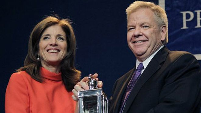 """Caroline Kennedy, John F. Kennedy's only surviving child, on Monday presented """"Profile in Courage"""" awards to the three ex-Iowa judges who were voted out of office in 2010 following their decision to legalize same-sex marriage. The awards came from the John F. Kennedy Library Foundation, which she heads."""