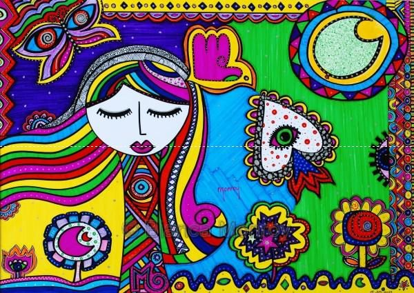 """""""La luna"""" 2012 Marcador sobre papel. 29,7 x 42 cms © Obra de la artista mexicana Bianca Monroy. http://www.bianca-monroy.com #veoarte, #moocarteytic"""