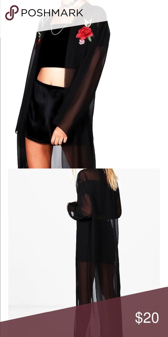 Black Split Lace Bandeau & Maxi Kimono ❌ FINAL PRICE ❌  Items comes with a Split Black Lace Bralette (Size S)  Concert Style Maxi Kimono.   Long Sleeve Kimono.   Floral Embroidered Maxi Kimono.   Rose Embroidered Kimono.   BLACK Kimono.  BUNDLE 2 OR MORE ITEMS FOR A BETTER DEAL Bundling will display a subtotal for all items  This includes any BUNDLE DISCOUNTS ➕ SHIPPING ✔ Boohoo Swim Coverups
