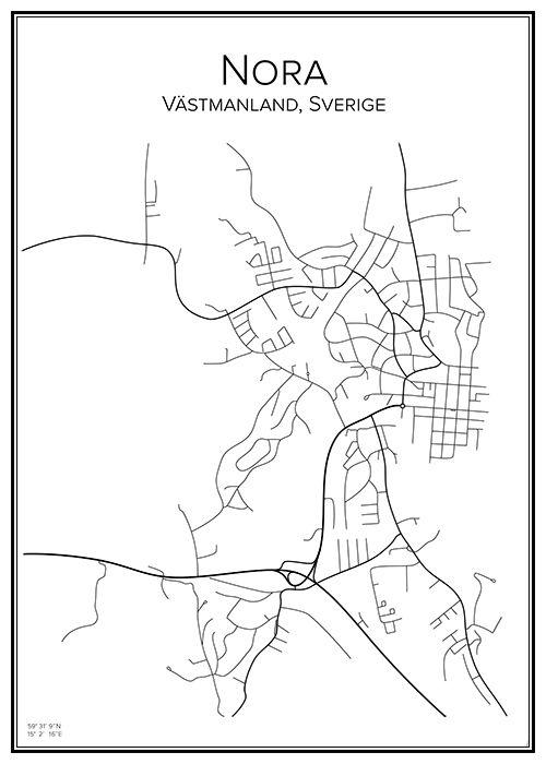 Nora. Västmanland. Sverige. Karta. City print. Print. Affisch. Tavla. Tryck.