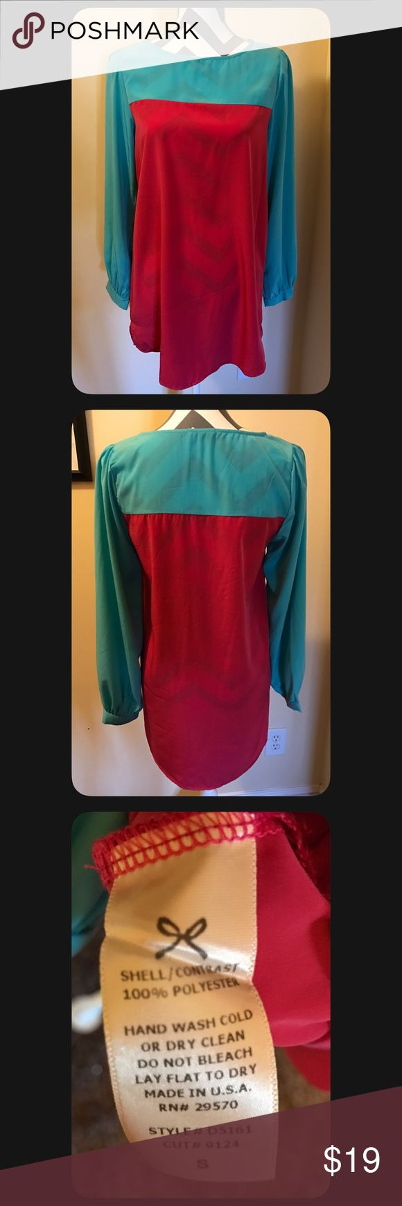 Size Small long sleeve tunic dress NWOT NWOT - long sleeve polyester tunic dress - size Small - teal & pink in color - NO TRADES Dresses