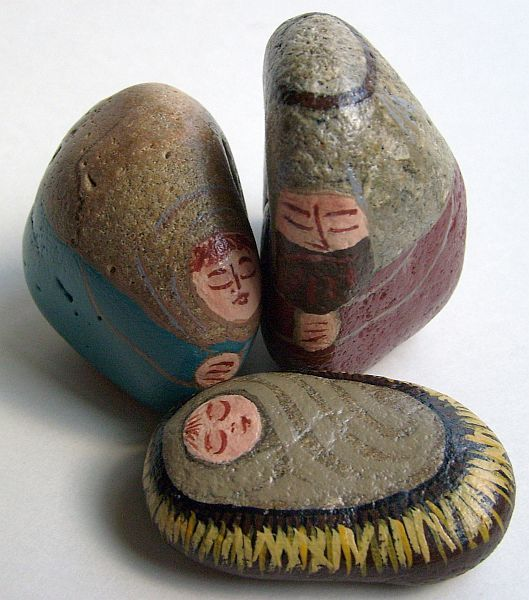 Unique Nativity Sets   Nativity Scene Figures   Painted on Rocks and Stones