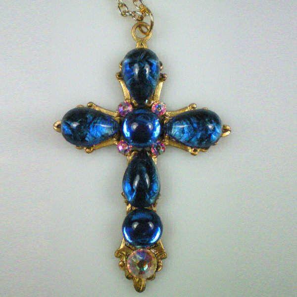 Anne Boleyn Sapphire Cross Necklace ~ Queen Elizabeth's I mother ~