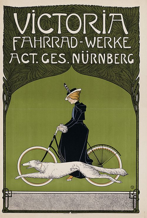 grofjardanhazy:  German advertising poster for Victoria Fahrrad-Werke AG, a Nürnberg-based bicycle companyArtist: Fritz Rehm1899