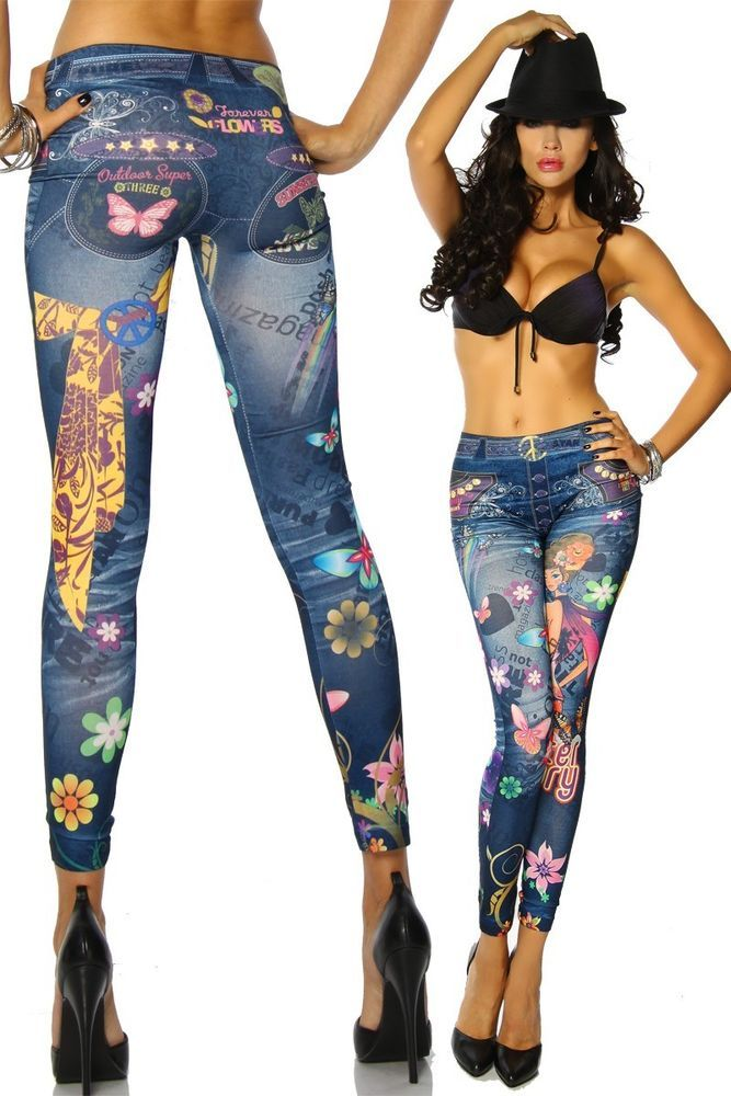 Jeans-Print Leggings Flower Power schön bunt One Size figurbetont und Sexy Neu in Kleidung & Accessoires, Damenmode, Umstandsmode | eBay