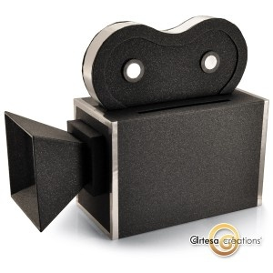 Boîte à dons Cinema Camera Noire Pailletée  http://www.artesa-creations.com/mariage/1281-urne-mariage-cinema-camera.html