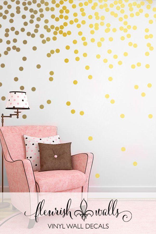 Gold Polka Dots Vinyl Wall Decal Fleurish Walls Best Seller List Wall Decals Girls Room Polka Dot Wall Decals Gold Polka Dot Wall Decals