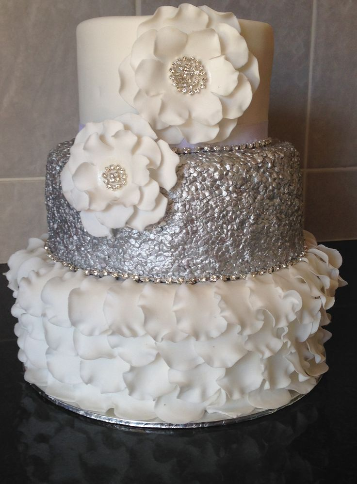 Silver Sequin Cake with Sugar Flowers
