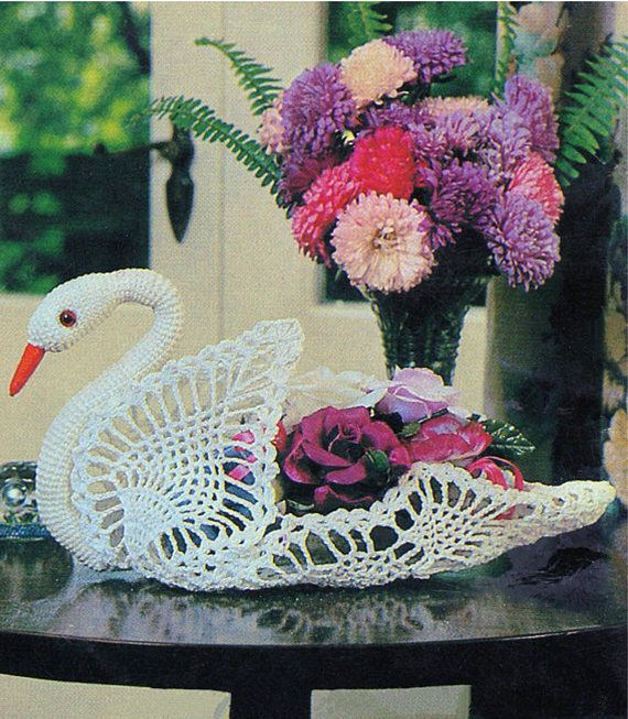 PDF Vintage 1970s 3d SWAN Ornament Crochet Pattern Wedding