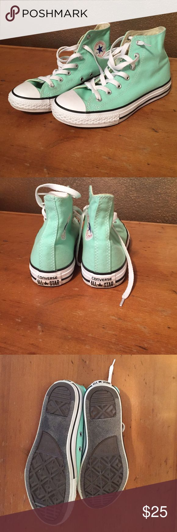 Mint green high top converse Super cute converse. Worn one time but have no signs of wear! Converse runs 1/2 large. Says size 3 kids, but have been informed this is a size 5 for women! Converse Shoes Sneakers