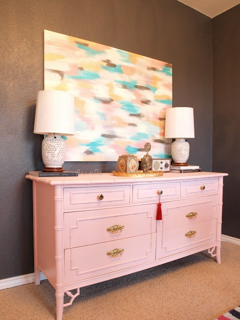 Pink faux bamboo Thomasville Dresser