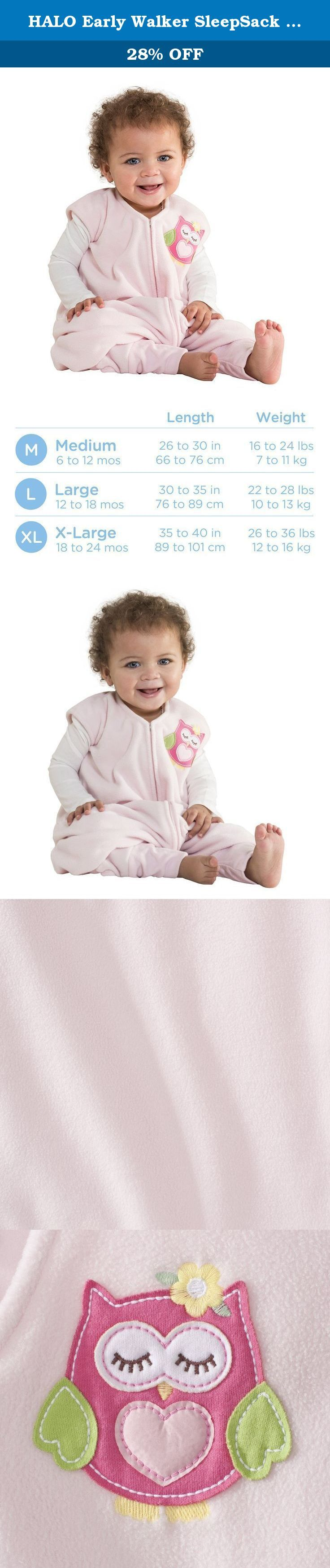 HALO Early Walker SleepSack Micro Fleece Wearable Blanket Pink, Large. HALO SleepSack Early Walker: Helps babies and toddlers sleep safe and sound. The HALO SleepSack Early Walker replaces loose blankets in the crib that can cover your baby's face and interfere with breathing. With its unique foot openings, the SleepSack Early Walker wearable blanket allows for greater mobility while babies are awake, but also keeps little feet covered and warm while sleeping. In addition to helping your...