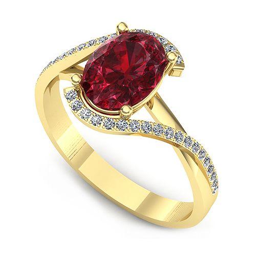 Inelul este format din: * Piatra principala: 1 x rubin, dimensiune: ~8.00x6.00mm, forma: oval; * Pietre secundare: 32 x diamant, dimensiune: ~1.00mm, forma: round