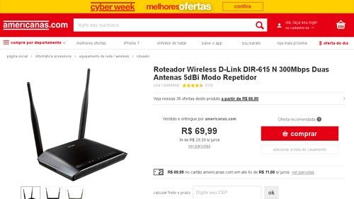 [Americanas.com] Roteador Wireless D - Link DIR - 615 N 300Mbps Duas Antenas 5dBi Modo Repetidor por R$ 69,99
