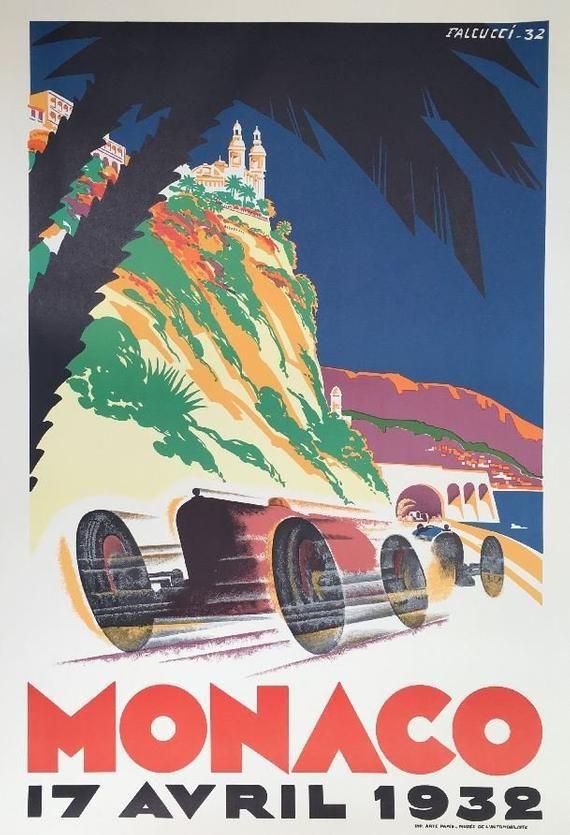 1932 Monaco Grand Prix Vintage Auto Racing Poster Retro Wall Art Large Wall Art Retro Poster Retro Wall Art Racing Posters