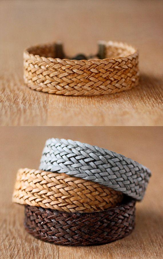 braided leather bracelet // mens or womens unisex by AWAYSAWAY