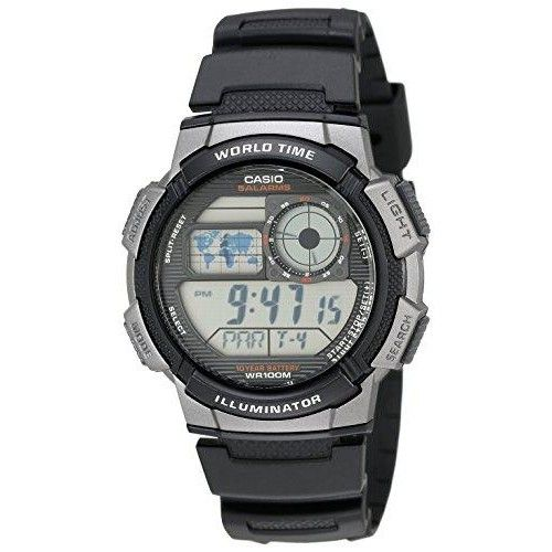 Casio Men\'s AE1000W-1BVCF Silver-Tone and Black Digital Sport Watch with Black Resin Band  utting-edge technology combines with modern design in the Men s #Digital #Sport #Watch from reliable manufacturer, Casio. Encircled with large push buttons for easy operation, the durable, black resin case backgrounds a bold...