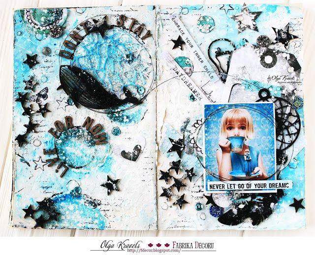 Olya Kravets, art journal, 7 dots studio, cotton candy, scrapbooking