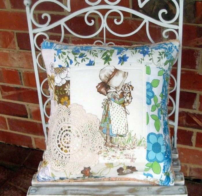 Upcycled Holly Hobbie and Chenille Cushion