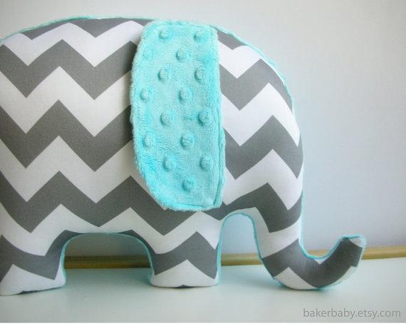Elephant Pillow, ORGANIC cotton, gray and turquoise chevron elephant, modern nursery decor via Etsy